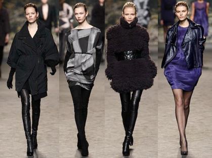Это бабетты с начесами, платья-трапеции, пальто с укороченными рукавами.